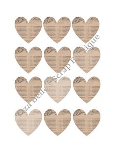 Digital Download 2 French Sheet Music Hearts by LBscrapboutique