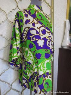 Vintage 1960s Hawaiian Tunic Top or Micro Mini Dress Large + #Unbranded