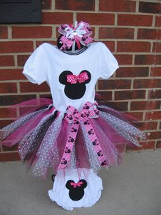 "Minnie Mouse TuTu Outfit... Just need ""1"" & name on top & bloomers!"