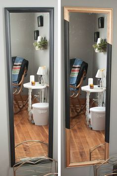 Give an affordable full-length mirror a cheap makeover with touches of gold!