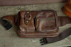 Waist Bag Hip Bag Brown Genuine Leather Bag