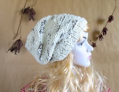 Hand knit chunky EXTRA slouchy knit hat / women hat / men hat / ivory cream
