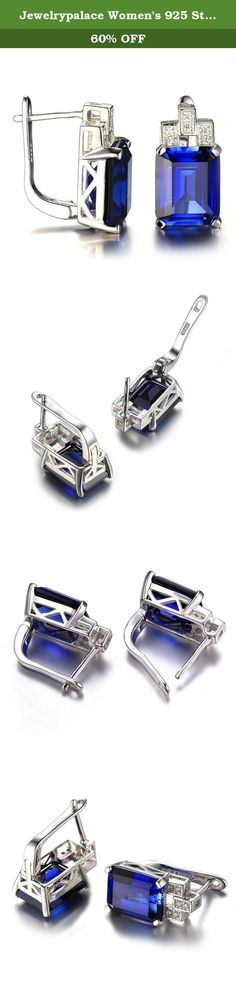 Jewelrypalace Women's 925 Sterling Silver Earrings Clip On Emerald Cut 12.15ct Created Blue Sapphire. We only produce the top- quality 925 solid sterling silver jewelry of China. Our sterling silver is electroplated with triple Phodinum, of which the thicknes is up to 3 microns , effectively preventing the silver from getting oxided and tarnished after long time wearing.