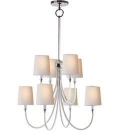Visual Comfort Thomas O'Brien Reed Large Chandelier in Polished Nickel with Natural Paper Shades Comfort & Co.Reed Large Chandelier in Polished Nickel with Natural Paper ShadesProduct Code: Polished Nickel (May Chandelier Ceiling Lights, Brass Chandelier, Chandelier Shades, Visual Comfort Lighting, Circa Lighting, Large Chandeliers, Home Lighting, Kitchen Lighting, Polished Nickel