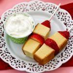Strawberry Shortcake Kebabs--add chocolate dipping sauce