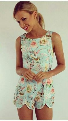 Romper with fun pastel floral print, boatneck and scalloped shorts with front seams. Super cute. Style Planet