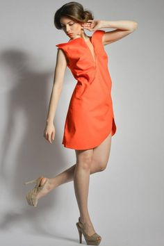 For a fresh spring look, go for bold colors and subtle cuts. Orange Crush Dress by Florentina Giol available at Band of Creators Designers' Store.