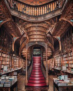 In a castle's library — Livraria Lello, Porto, Portugal. Beautiful Library, Dream Library, Library Books, Magical Library, Hogwarts Library, Livraria Lello Porto, Heaven Book, Studio Decor, Destination Voyage