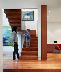 Architecture, Dark Wood Laminate Flooring Stairs Modern House Design ... #stairs Pinned by www.modlar.com