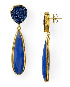Coralia Leets Blue Chalcedony & Blue Drusy Drop Earrings - Jewel Tones - Accessories Trends - Fall Style Guide: It's On - LOOKBOOKS - Fashion Index - Bloomingdale's