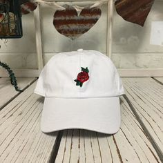 New Flower Rose  Embroidery White Baseball Cap by PrfctoLifestyle