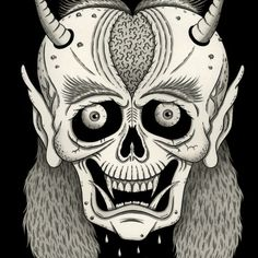 Grinning Skull with Horns by Jon McNair