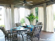 No Sew Outdoor Curtains   Drop Clothes And Electrical Piping For Rods
