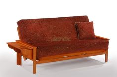 Seattle Futon in Teak by Night and Day   Xiorex Futons Online Seattle Futon by Night and Day is solid wood convertible futon furniture. The Seattle Futon comes with a classic tray-arm on each side of the futon convertible and is available in variety of finishes.  Check futon mattresses and futon size shopping guide. https://www.xiorex.com/night-and-day-seattle-futon-convertible