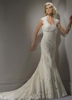 Wedding Fashion » Open back mermaid wedding gowns with lace cap sleeves