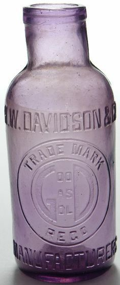 """H. W. Davidson & Co. Manufacturers. """"Good as Gold"""". Amethyst glass pickle jar. Company had offices in Melbourne and Kalgoorlie although their bottles are only really found in Western Australia. This variety c1900-10s"""