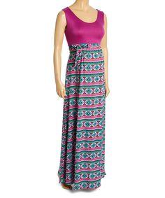 Berry & Teal Empire-Waist Maternity Maxi Dress - Plus Too