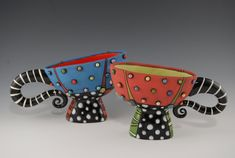 coffee cups... so whimsical!  by Natalya Sots ~ Colorful Ceramics