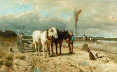 Anthonij 'Anton' Mauve (Zaandam 1838-1888 Arnhem) Mallejan bij houtopslag - Kunsthandel Simonis en Buunk, Ede (Nederland).