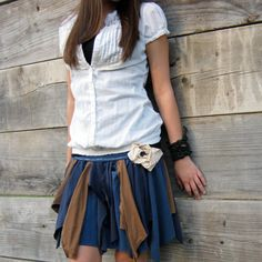 made to order - Funky Eco Tattered Fairy Woodland Pixie Mini Skirt