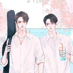 Taiwan Drama, Bright Wallpaper, Anime Drawings Sketches, Bright Pictures, Cute Gay Couples, Thai Art, Fanart, Cute Actors, Thai Drama