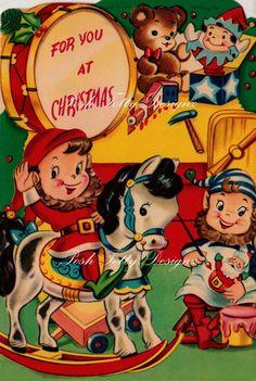 Vintage Elves Hard At Work At Christmas 1950s by poshtottydesignz