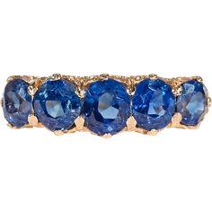 #MondayBlues at www.rubylane.com @rubylanecom -- Victorian Untreated Sapphire Yellow Gold Five Stone Ring