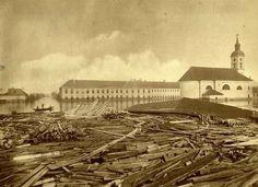 Az 1879-es nagy árvíz uszadéka a Rókusi templomnál