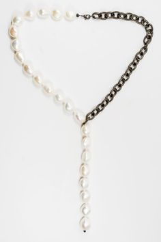 White Freshwater Pearls and Brass Chain by OliverRafCollection