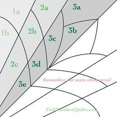 Diagrams for Dusty Miller, Cleopatra's Fan, Friendship Garden, Friendship Knot quilt blocks