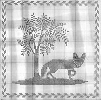fox and tree Cross Stitch Tree, Just Cross Stitch, Cross Stitch Animals, Modern Cross Stitch, Cross Stitch Charts, Cross Stitch Designs, Cross Stitch Patterns, Crochet Cross, Crochet Chart