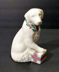 """1992 Lenox Annual Holiday """"Labrador Retriever"""" Dog Figurine w/Holly & Berry Trim #Lenox"""