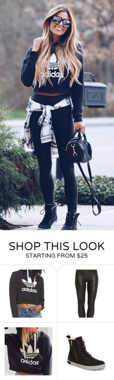 #fall #outfits women's black and white Adidas sweatshirt and black leggings. Click To Shop This Look.