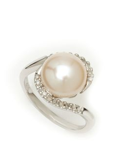 Michiko Pearls - diamond and freshwater pearl ring [this would be a beautiful nontraditional engagement ring]