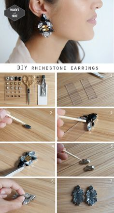 DIY Rhinestone Earrings. I'm going to try to make some of these for a fancy night out.