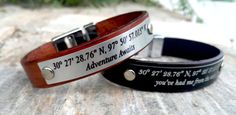 MADE TO ORDER & SHIPPING  -I express ship all orders. -It takes 1-3 business days to Europe and 3-5 business days to the USA. -Item takes up to 1 - 3 Business Days to produce. ▂▂▂▂▂▂▂▂▂▂▂▂▂▂▂▂▂▂▂  Laser Engraved - Custom Leather Bracelet,  -Leather Width 0.5 inches - (1.4 cm) -Genuine Black or Brown Leather, -Black Aluminum Plate - Silver Etching -Stainless Stell Secure Clasp, -Font Style : Bell MT -All items will arrive to you in a gift bag, ready to give away or keep for yourself.  HOW ...