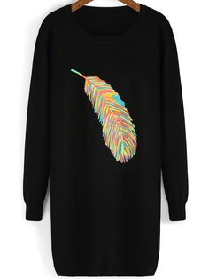 Shop Black Round Neck Feather Pattern Sweater online. SheIn offers Black Round Neck Feather Pattern Sweater & more to fit your fashionable needs.