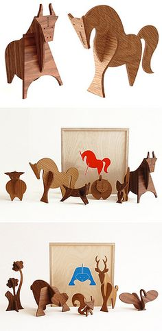 Moderne wooden animal sculptures from Uusi Wood Crafts, Diy Crafts, Wood Animal, Wooden Figurines, Paper Animals, Designer Toys, Animal Sculptures, Wood Toys, Wood Carving