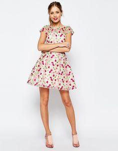 11a8e936d0b Image 4 - ASOS PETITE - SALON - Jolie robe patineuse à broderies florales  Robes Fleuries