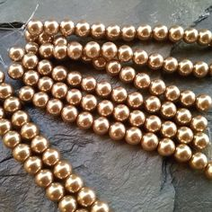 Glass Pearl, 8mm, Chinese Glass Pearl, Light or Soft Gold, 13 pieces per Strand, Priced per Strand by DragonflyBeadsStudio on Etsy