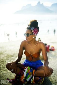 Updo - natural hair at the beach!