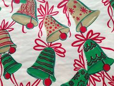 Vintage Gift Wrapping Paper Red Green and by TheGOOSEandTheHOUND