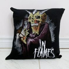 In Flames Pillow #2 DIY Melodic Death Metal Decor (Cover Only) by DarkStormDesign on Etsy