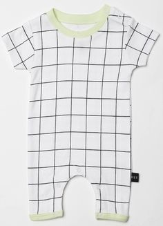 The Huxbaby Grid Short Romper in White is a stylish, unisex romper that is sure to be loved.