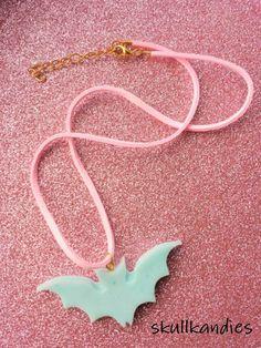Creepy cute pastel goth bat choker necklace by skullkandies