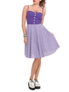 Hell Bunny Purple Gingham Saturday Party Dress at Hot Topic. So cute!