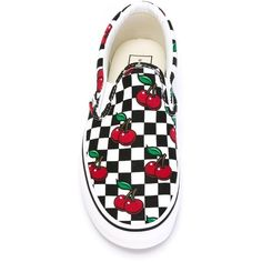 Vans cherry print slip-on sneakers ❤ liked on Polyvore featuring shoes, sneakers, slip on shoes, vans trainers, vans sneakers, vans footwear and vans shoes