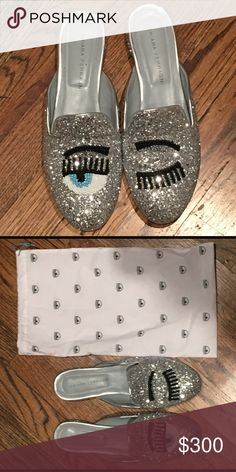 Chiara Ferrgani silver glitter mules Never worn! They were a size too small for me. Comes with original box and dust bag for each shoe chiara ferragni Shoes Flats & Loafers