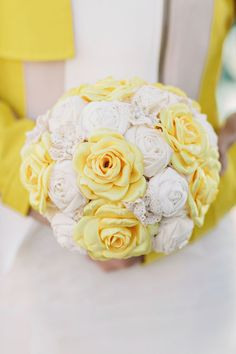 yellow and ivory fabric bouquet // photo by Clean Plate Pictures // view more: http://ruffledblog.com/geeky-brooklyn-wedding