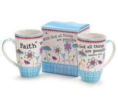 <br>White bone china mug with a decal design and message. Individually printed gift X 2 and holds set of